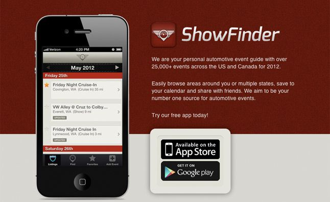 Find Local Automotive Events with ShowFinder App. For more, click http://www.autoguide.com/auto-news/2012/06/find-local-automotive-events-with-showfinder-app.html