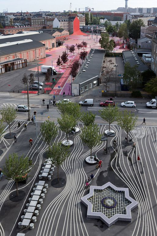 Superkilen urban park in Copenhagen, Denmark (Photo: Iwan Baan)