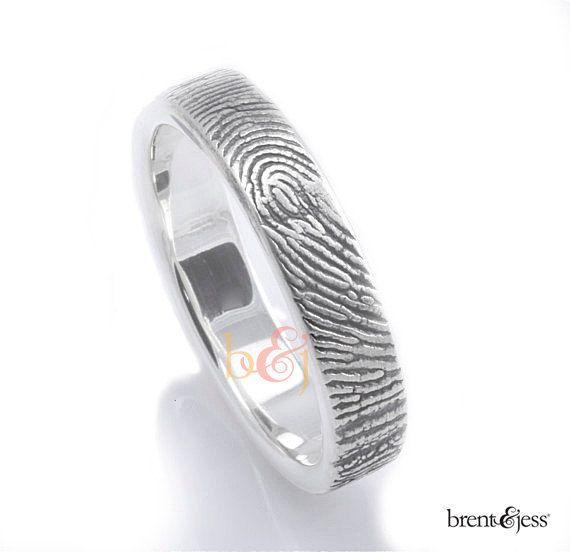 New Custom Fingerprint Wedding ring Commitment Ring mm Sterling Silver with Fingerprint Wrapped on the Outside