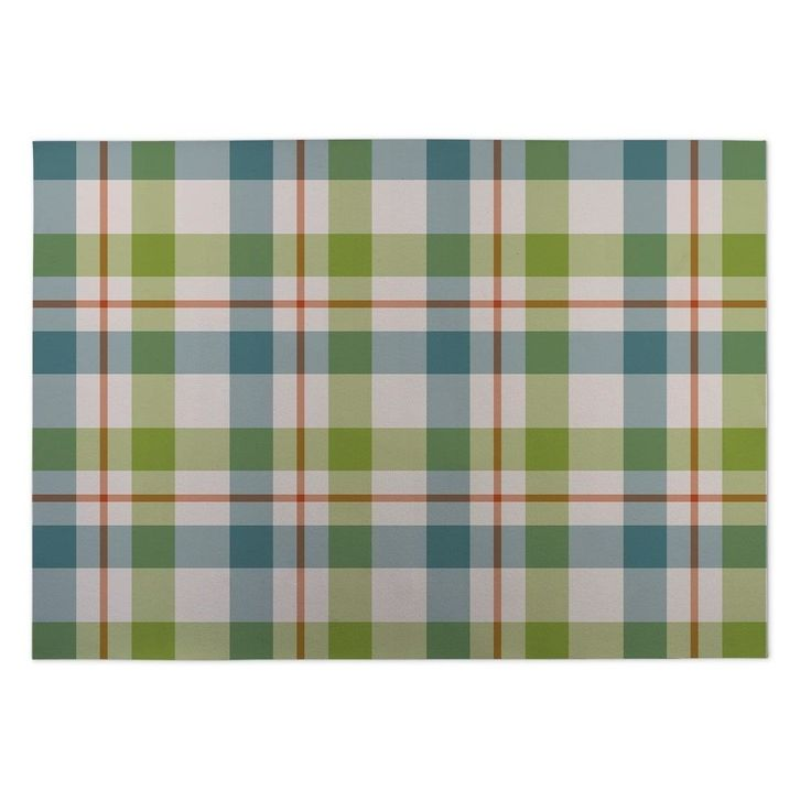 Kavka Designs 'Fishing Plaid' Indoor/ Outdoor Floor Mat (5' x 7') (Green - Novelty - Plaid), Size 5' x 7'