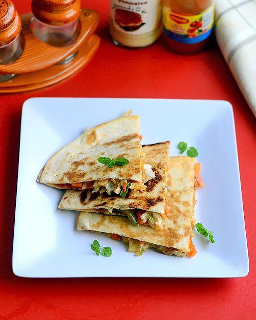 Veg Quesadilla Recipe - Indian Vegetarian Quesadilla