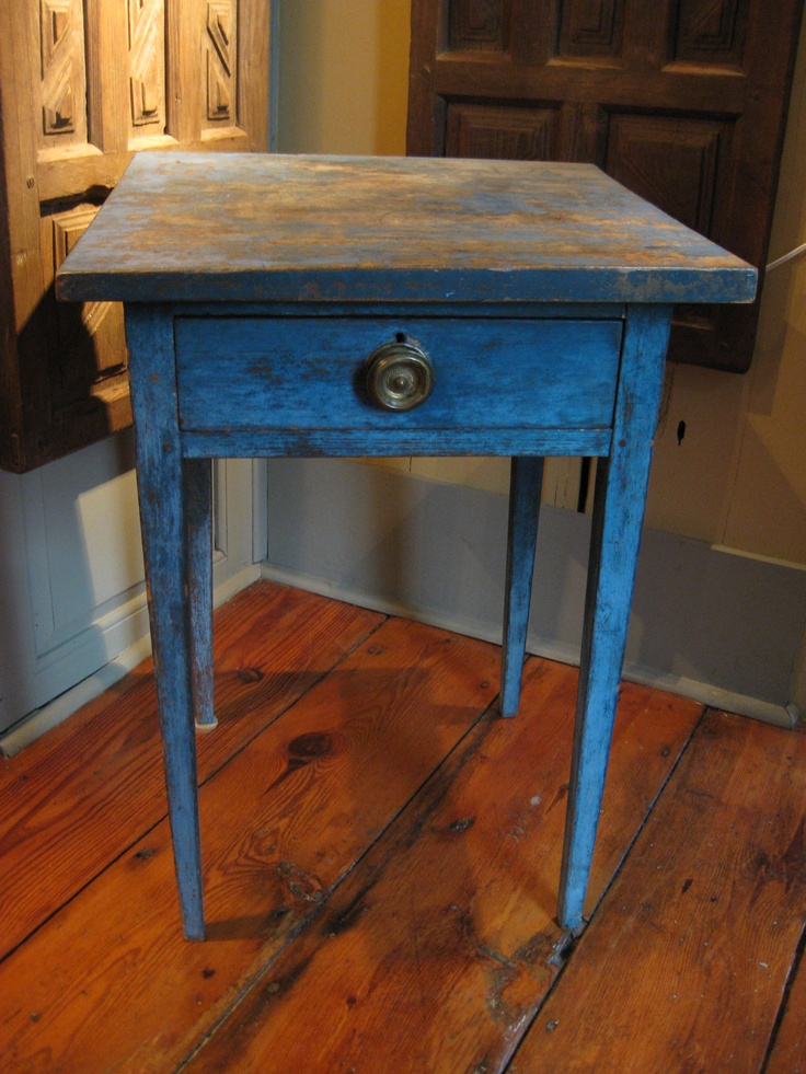 Antique Pennsylvania 1 Drawer Stand In Blue ****. Country FurniturePrimitive  ...