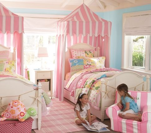 Striped Awning Over Beds...diy: Should Be Easy   Fabric Or Sheets