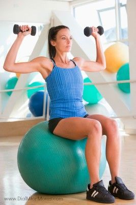 Exercise Ball Workouts for Beginners - Listen, I hate boring exercises. And, I really hate having to repeat them day after day. But there's one piece of exercise equipment that I love for its versatility and fun. The exercise ball.  See what 30 days can do for you! #dialmformoms http://www.dialmformoms.com/30-day-fitness-weight-loss-challenge-index/