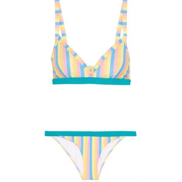 Rye Fizz The Fruit Tingle striped triangle bikini (£120) ❤ liked on Polyvore featuring swimwear, bikinis, turquoise, triangle bikini swimwear, beach wear, print bikinis, low rise bikini and flower bikini
