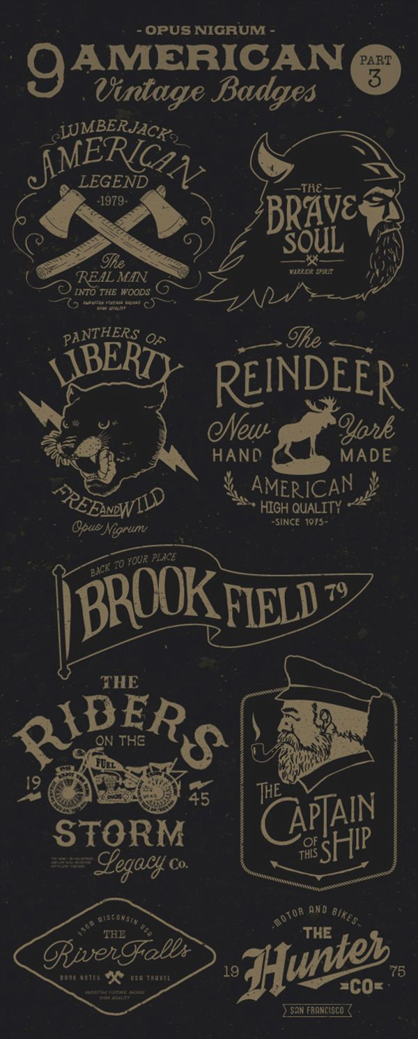 American Vintage Badges Part 3 by OPUSNIGRUM, via Behance