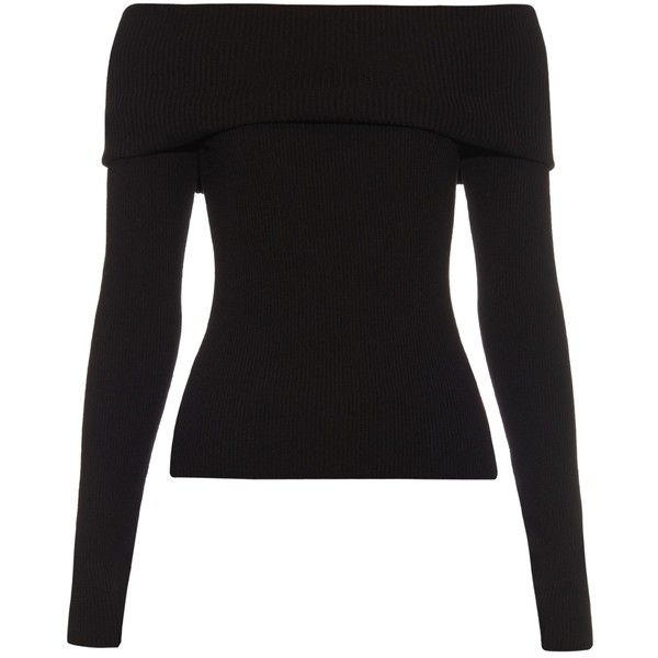 A.L.C. Monica wool-blend off-the-shoulder top found on Polyvore featuring tops, shirts, black, blusa, sweaters, black off shoulder shirt, black top, a.l.c., off the shoulder long sleeve top and black off the shoulder shirt