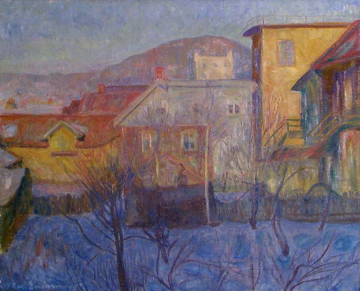 thorvald erichsen(1868-193), winter sun, view from breiseth hotel at lillehammer, 1909. oil on canvas, 66 x 81.5 cm. nasjonalmuseet for kunst, arkitektur og design, norway
