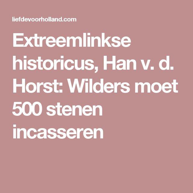 Extreemlinkse historicus, Han v. d. Horst: Wilders moet 500 stenen incasseren