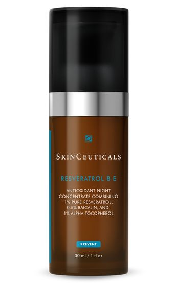 SkinCeuticals Resveratrol B E. This antioxidant night concentrate with a maximized concentration of 1% pure, stable resveratrol, synergistically with 0.5% baicalin and 1% alpha tocopherol (vitamin E) supports skin's natural antioxidant defense system to improve the appearance of radiance and elasticity. It supports skin's natural repair by neutralizing free radicals. Diminishes the visible signs of accelerated aging. #SkinCeuticals #shopvillagespas #antioxidants