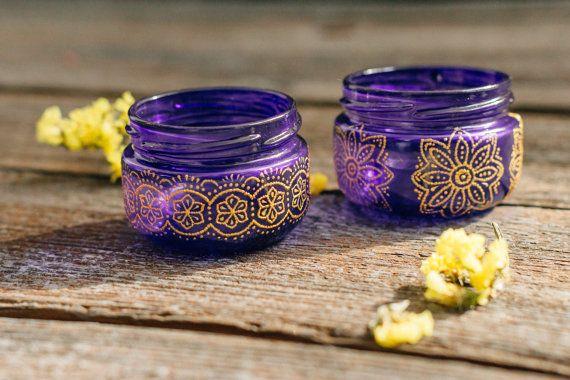 Purple jar candle lantern, moroccan painted jar lantern, bohemian centerpiece, boho gypsy wedding favors, moroccan wedding outdoor decor