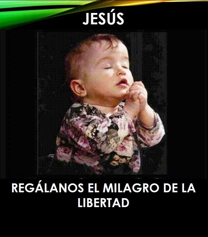 JESUS, regálanos el milagro de la Libertad, meme, reflexión del día, cristiano, religión, oración, libertad, nene, rezando,
