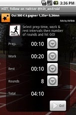 HIIT interval training timer.   AWESOME APP!!!  I installed and used it for the first time today for my run. I plan on using it for more than just running. Easy to use!