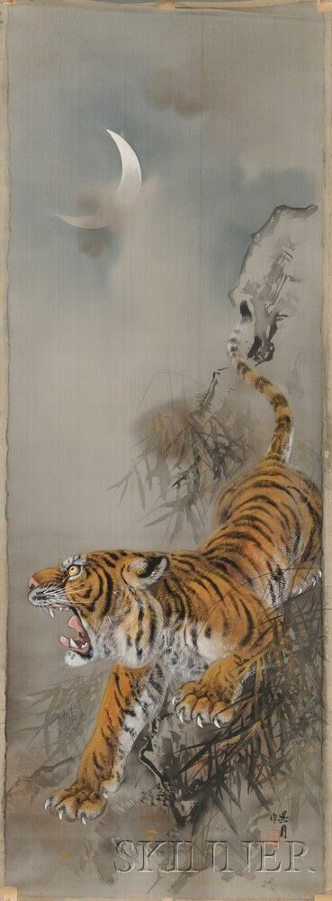 Hanging Scroll Depicting a Tiger, China Ink and color on silk, with detached scroll rods and no paper backing, under a crescent moon with bamboo trees, signed with a seal, 48 1/4 x 18 in.