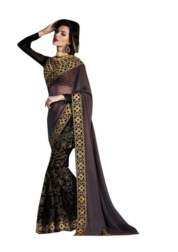 Description:- Black & Grey Color Georgette & Brasso Saree with Black Color Bhagalpuri & Georgette Fabric Golden Color Floral Heavy Embroidery worked Blouse. This Saree has Floral & Kerry Style weaving on Lower part & Golden color Floral Embroidery patch work at skirt and Decorated stone work at Pallu with Golden color Floral Embroidery Lace border work with two side pipping. The Blouse can be Stitched upto size 44. Rate:- 2975/- For bookings:- Ring or Whatsapp on +919870725209 Shipping in…