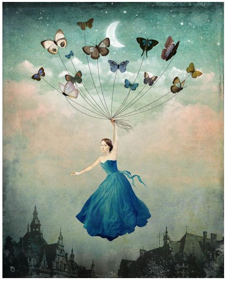 Made by: Christian Schloe , Butterflies ties to a rope