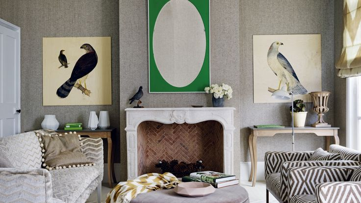 Traditional living room with chevron wallpaper and furniture