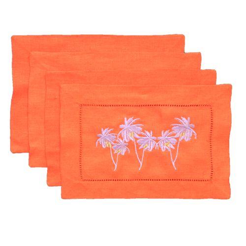 Orange Linen Purple Palms Cocktail Napkins