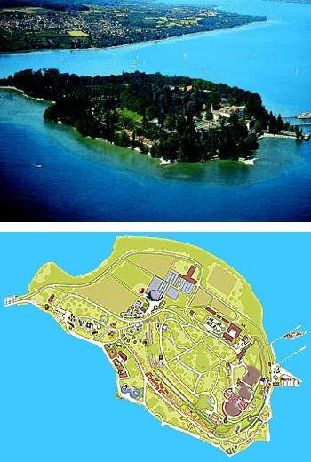 Meinau: Im Bodensee gibt es drei Inseln. Auf der Lindauinsel befindet sich die Altstadt von Lindau. Auf der Insel Reichenau gibt es viele Gärtnereien mit Gemüseanbau. Am meisten zu entdecken und zu bestaunen gibt es aber auf der kleinsten Insel, der Insel Mainau:  Palmenhaus, Orchideenschau, Rosenpromenade und italienischer Rosengarten, Schloss mit Terrasse, Inselhafen, Schmetterlingshaus, Kräutergarten, Schwedenturm mit Weinberg, Uferwege und Ufergarten mit Aussichtspunkten.