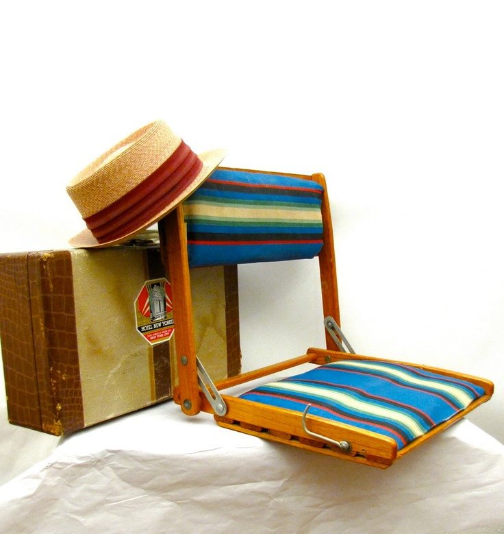 Summer Camp vintage folding oak and striped canvas portable travel chair Canoe Seat 1930s-40s.