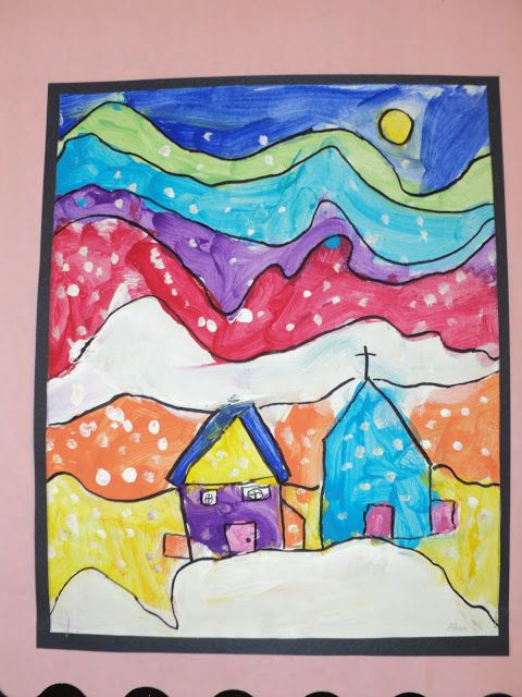 Painting like Ted Harrison in Grade 1.