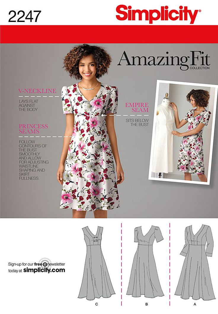Simplicity 2247 Plus Size Amazing Fit Dresses with individual pattern pieces for B, C, D, DD cup sizes. I like this dress pattern. But, it always irks me when they use thin models for plus size clothing.