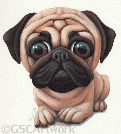 pug dog puppy pet animal cartoon caricature acrylic painting art