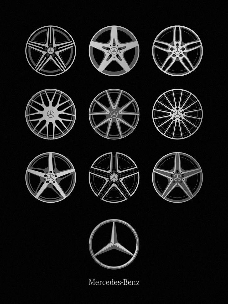 "Current wheel designs contrasting with the beautiful simplicity of the Mercedes-Benz logo. Size: 18"" x 24"" Ink: Metallic Silver and Metallic Dark Gray Paper: Blacktop 100# Construction Cover by French"
