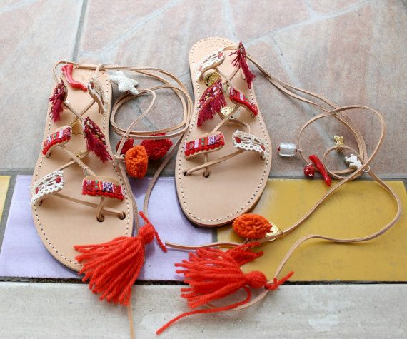 S A L E  Greek sandals/pompom sandals red by EATHINI on Etsy