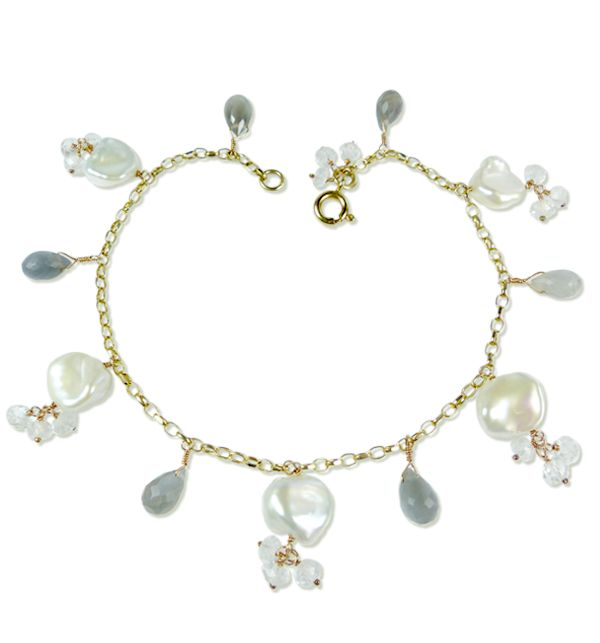 Pearl and Grey Moonstone Bracelet