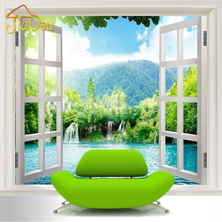 Custom 3D papel tapiz Mural ventana 3D cascadas bosque vista arte Mural salón dormitorio pasillo de los niños habitaciones foto Wallpaper(China (Mainland))