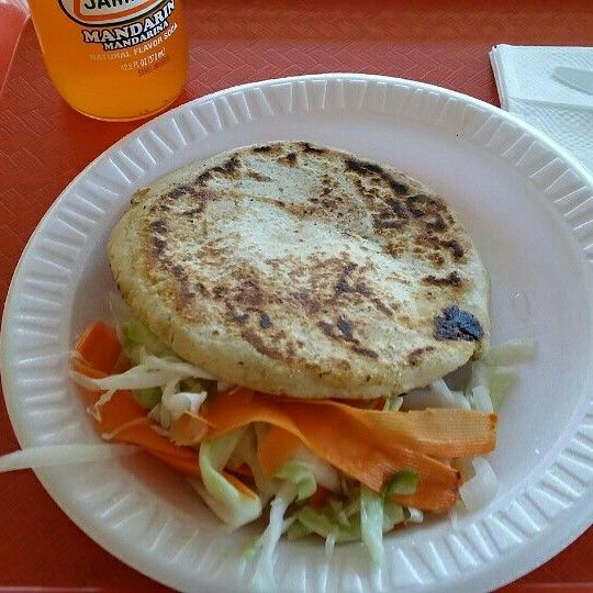 Here's a Bean & Cheese Pupusa from Lucy's #1 Drive-Thru 24-hr Restaurant on W. Washington Blvd. (Between Hoover St. & Arapahoe St.) in The Downtown Los Angeles Pico-Union Neighborhood, California.
