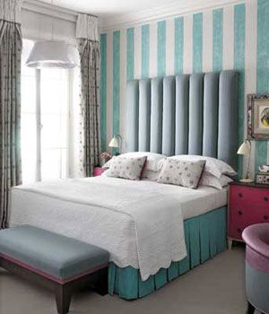 Tiffany Blue White Bedding And Striped Walls On Pinterest