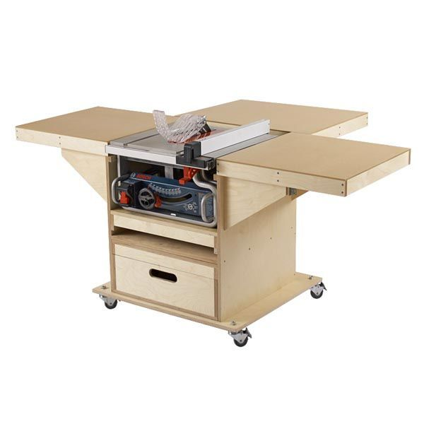 Quick-Convert Tablesaw/Router Station — This easy-to-build mobile tool stand packs a shop full of convenience in a small package. With a footprint of less than 7 square feet when folded, this tool stand expands into a massive 17-square-foot tablesaw work surface. And it's multi-talented—to switch to a router table simply slide out the on-board router drawer. http://www.woodstore.net/qutast.html