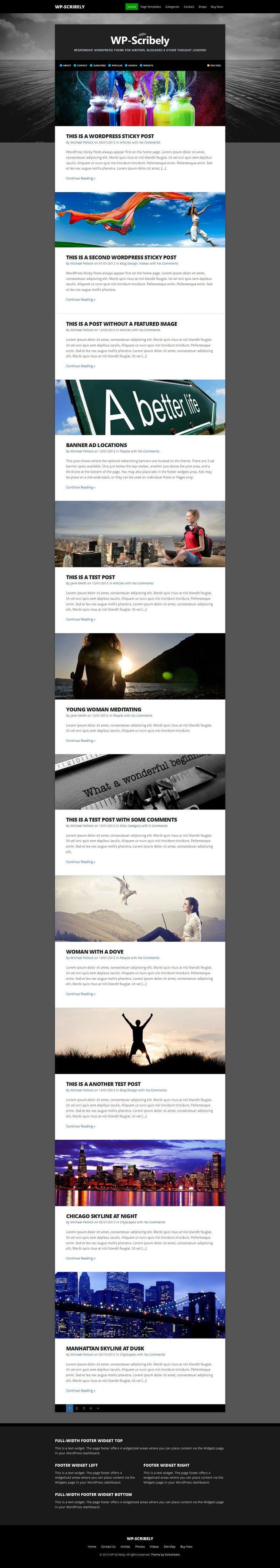 WP-Scribely: Single Column, Responsive WordPress Theme