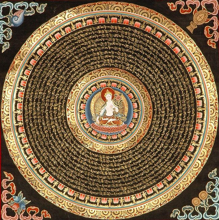 Beautiful Mandala - with Syllable Mantra and the WhiteTara at the center. Order your Tibetan Thankga Mandala @ traditionalartofnepal.com #Mandala #Tara