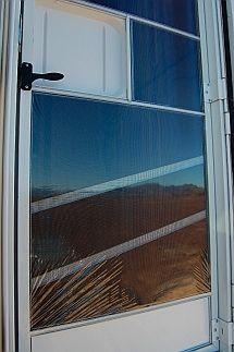 RV Tip - Shrink-wrap your screen door in winter to keep the cold out and the sunshine in.