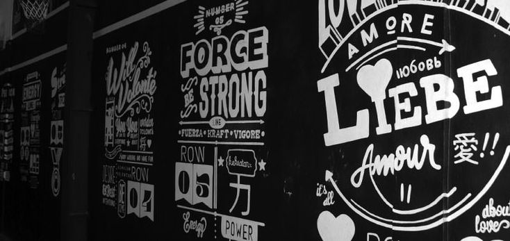 Mural inspired by classic sign painting typography