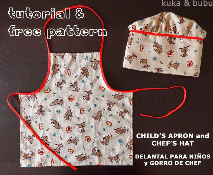 kuka and bubu: Tutorial & free pattern: Apron and chef's hat – Delantal y gorro de chef (1)