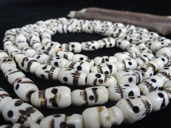 Carved Yak Bone Skull Beads 108 Tibetan Prayer by beadsincredible, $14.99