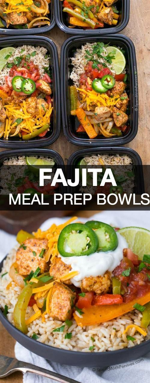 No matter how busy life gets, we still have to eat. With easy make ahead ideas like these Fajita Meal Prep Bowls, eating great all week is as easy as opening the fridge to grab a dish! They're delicious, healthy and 21 day fix approved and they freeze perfectly!: