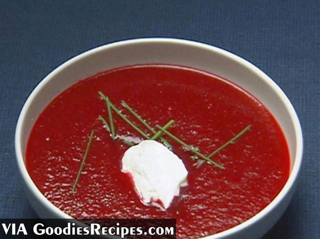 Borscht recipe ( more on http://www.goodiesrecipes.com/recipe/62/borscht-recipe.html) | INGREDIENTS: 900g/2lb large raw beetroot  220g/8oz onion, diced  220g/8oz leeks, sliced  2 celery sticks, chopped  50g/2oz butter  600ml/1pt chicken stock  1 bay leaf  150ml/5fl oz soured cream  salt andblack pepper | HOW TO COOK: Borscht RECIPE: Boil the beetroot whole in salted water for 15 minutes. Drain and refresh in cold water. Peel and cut into 2.5cm/1in chunks.  In a frying pan, gently sweat the…