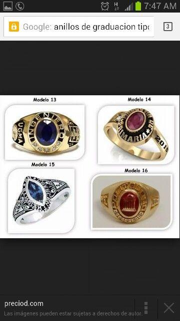 Variedad de anillos de grado