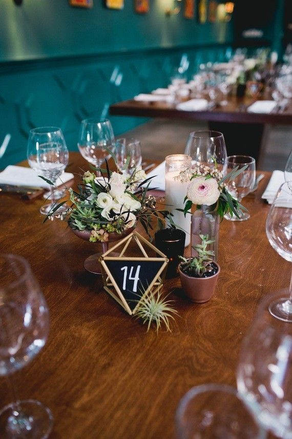 Geometric chalk table numbers | Wedding & Party Ideas | 100 Layer Cake http://www.100layercake.com/wedding-ideas/decor/page/8/