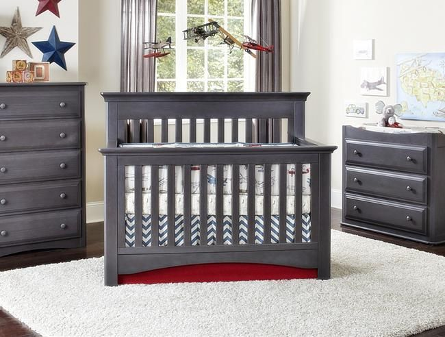 Babyu0027s Dream Heritage Collection Memphis Convertible Crib In Slate.
