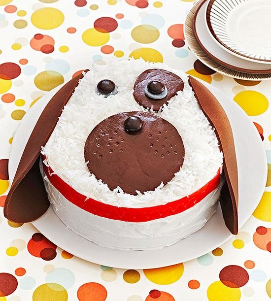 """There's nothing """"ruff"""" about making this Puppy Love #birthdaycake! Shredded coconut and candies create the sweet face."""