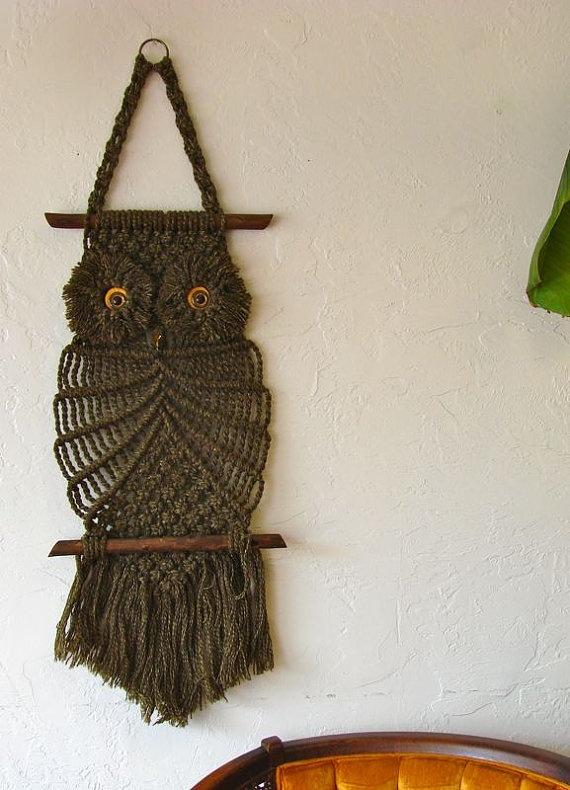 Vintage Brown Macrame Owl Wall Hanging With Ceramic Eyes