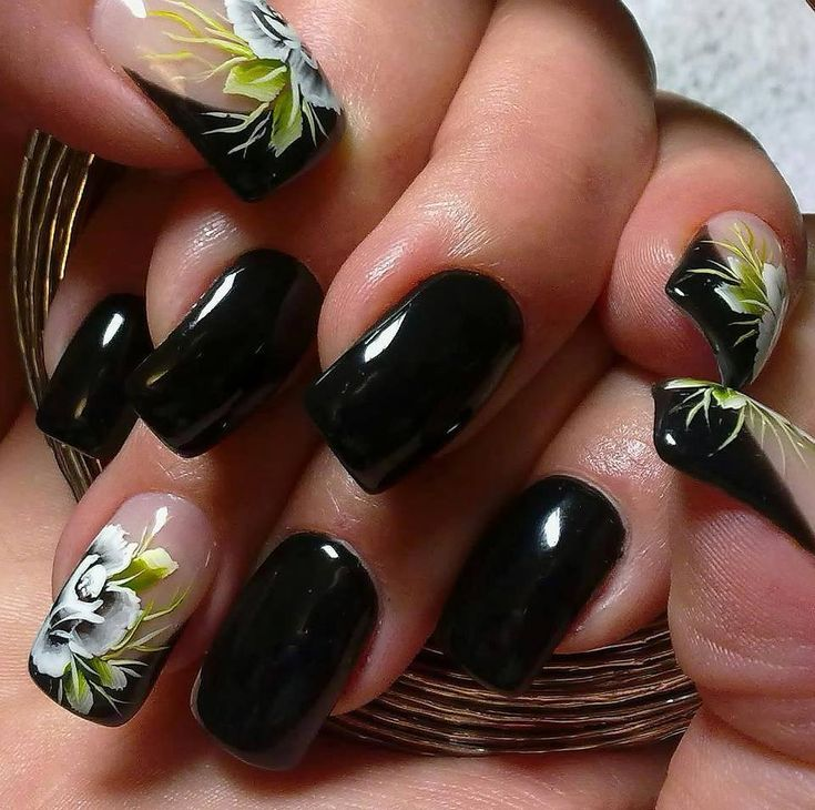 Black acrylic nail designs for girls