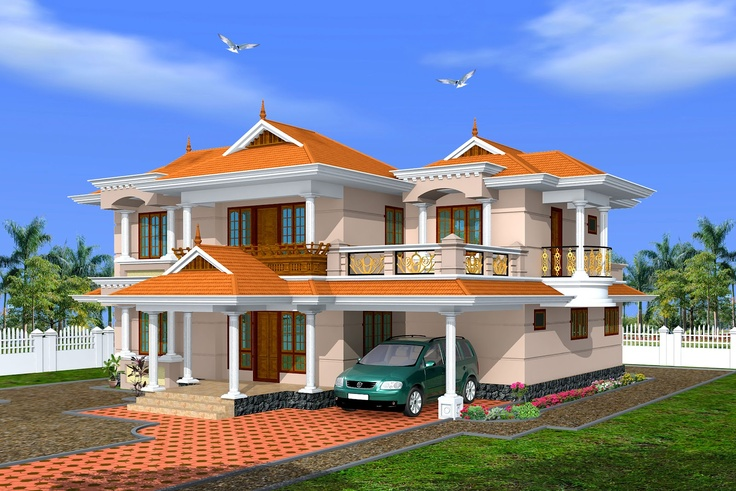 Creative exterior design attractive kerala villa design s Pictures of exterior home designs in india