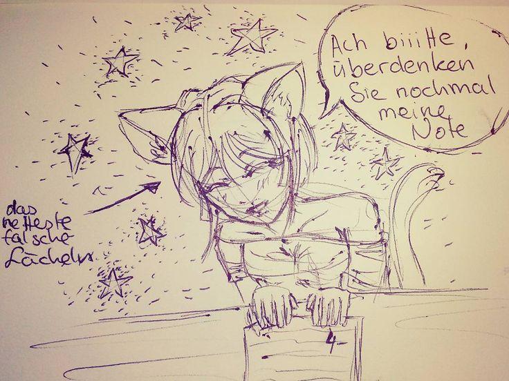 Neue Note bitte :D  Hihi wer kennt das nicht, schlechte #Note geschrieben und man wünscht sich eine bessere und versucht Überfall einen Fehler vom Lehrer zu finden einen Punkt den er vielleicht über sehen hat noch zu finden xD dieses #Catgirl versuchte halt mit Lehrer anbetteln ^^ #cat #girl #anime #manga #new #mark #please #ears #ohren #neue #bitte #betteln #schule #school #cute #skizze #sketch #lächel #аниме #манга #кошка #девочка  #нота #улыбка #ушы #cutiepix #cutiepixdesign